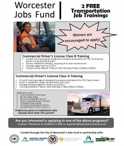 Free CDL A and CDL B training for eligible city of Worcester residents