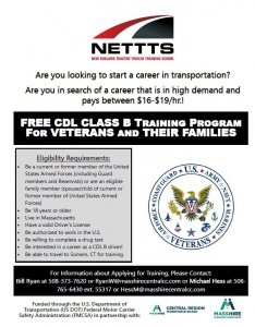 Free CDL-B Training for Qualified Veterans