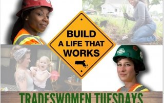 Graphic depicting women in construction trades